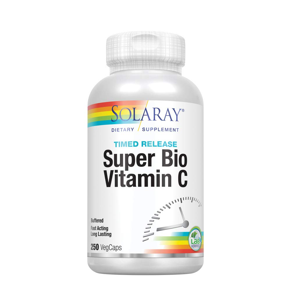 Solaray Super Bio C Buffered Vitamin C w/Bioflavonoids | Timed-Release Formula for All-Day Immune Support | Gentle Digestion | 125 Servings, 250 CT