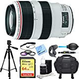 Canon EF 70-300mm f/4-5.6L IS USM UD Telephoto Zoom Lens Deluxe Accessory Bundle incl. Lens, 64GB Extreme SD Memory Card, Tripod, 58mm Filter Kit, Lens Hood, Bag, Cleaning Kit, Cleaning Cloth & More