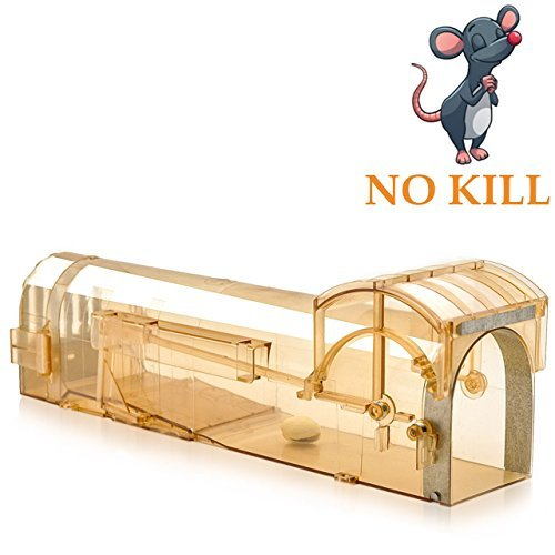 Humane Mouse Trap, 32 cm Enlarged Smart Mouse and Rodent Trap, Humane Catch Cage Easy to Set and No Kill The Mice, Pets & Children Friendly Mice Trap Works for Small and Big Mouse, Reusable, Brown