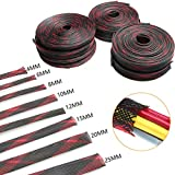 10M Red and Black Braided Sleeve 2/4/6/8/10/12/15/20/25mm Expandable Cable Sleeves Insulation Wire Gland Cables 8 Sizes