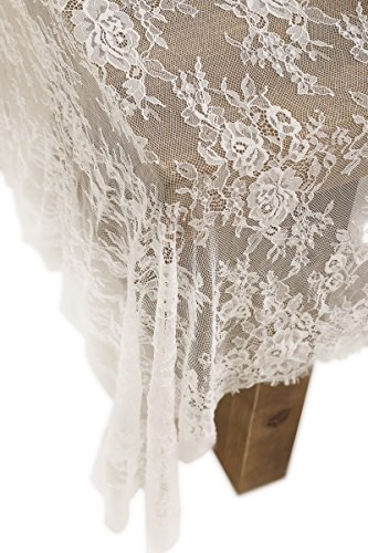 Ling's moment 60x120 inch White Wedding Lace Tablecloth, Table runner Lace Overlay Summer & Fall Garden Forest Wedding Decoration Baby & Bridal Shower Décor