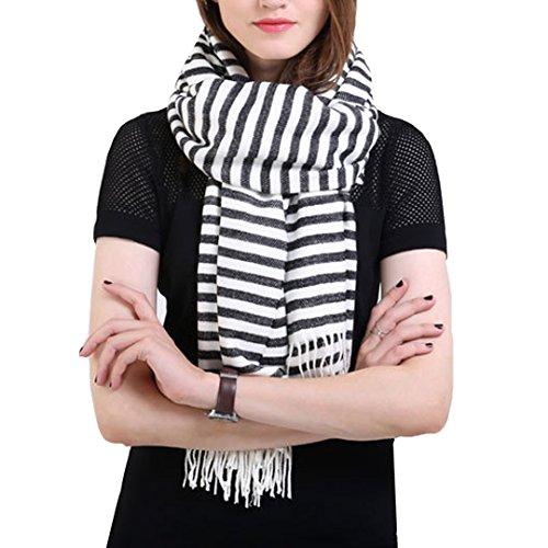 YAOSEN Classic Black and White Striped Scarf Warm Fringed Shawl (Classic Striped Scarf)