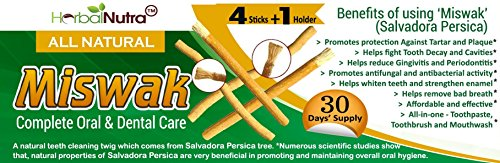 MISWAK - 4 Stick + 1 Holder - 30 Days Supply - Natural Tooth Brush - Complete Oral Care - Teeth Whitener - Hygienically Processed and Packaged - All Natural Chemical Free