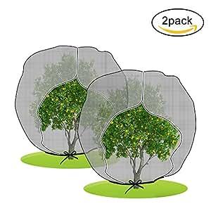 """agfabric pájaros insectos barrera jardín planta, 72""""x 72"""" x12""""in-shape bolsa con cuerda y cremallera, negro, 9unidades"""