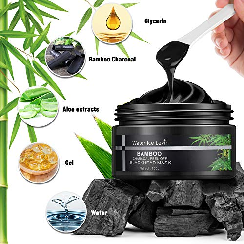 Blackhead Remover Mask, 3-in-1 Bamboo Charcoal Peel Off Mask Kit with 5 Blackhead & Pimple Comedone Extractors, Purifying Face Masks with Facial Brush for All Skin Types Face & Nose