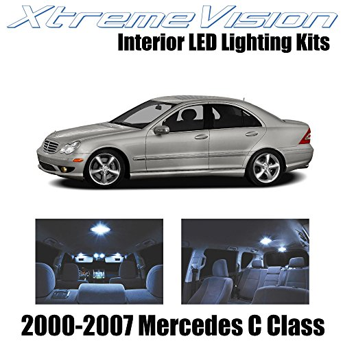 XtremeVision Interior LED for Mercedes C Class 2000-2007 (14 Pieces) Cool White Interior LED Kit + Installation - Coupe Headlights C230