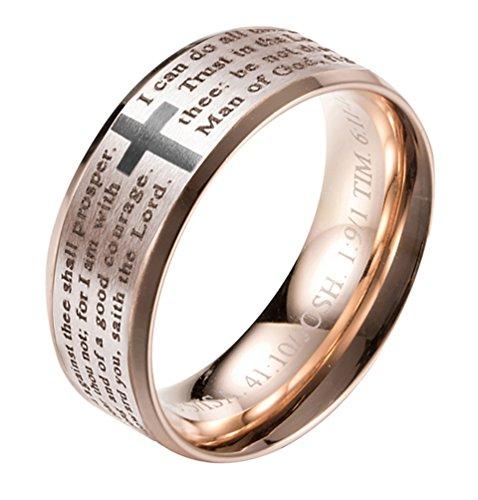 - ALEXTINA Men's Women's 8MM Stainless Steel Bible Verse Christian Cross Lord's Prayer Wedding Ring Rose Gold Size 8