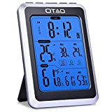 OTAO Digital Hygrometer Indoor Thermometer Humidity Meter Temperature Humidity Gauge with Alarm Clock Voice Control Backlight Room Thermometer Humidity Monitor