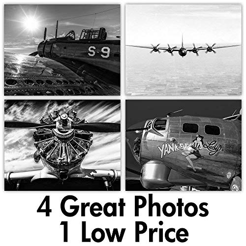 War Planes - Set of Four 11x14 Unframed Prints - Great Gift for History ()