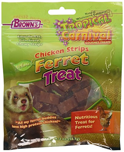 F.M.Brown's Tropical Carnival Natural Chicken Strips Ferret Treat, 2-Ounce - Ferret Chicken Treats
