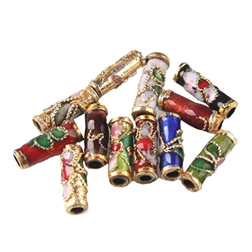 Colorful Flower Tube Enamel Cloisonne Beads