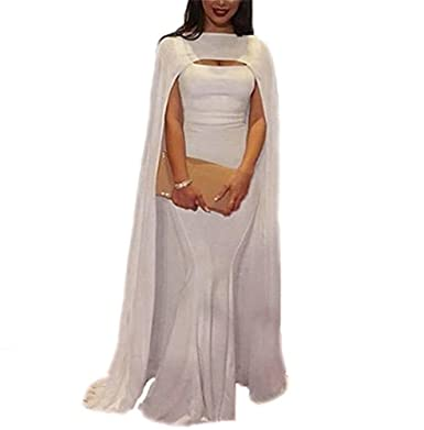DreHouse Womens Satin Mermaid Evening Formal Dresses Long Prom Gowns with Shawl