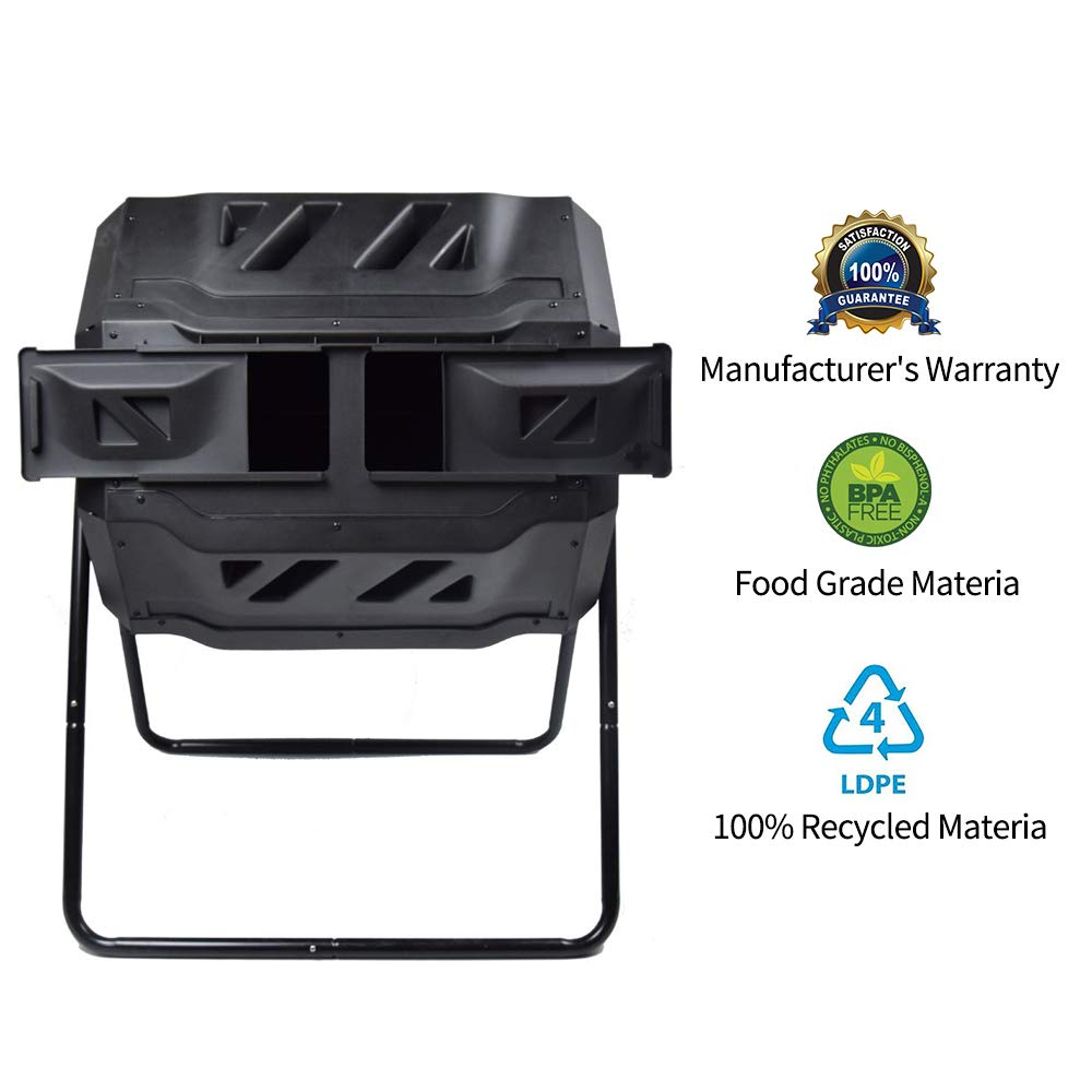 Composting Tumbler - Dual Rotating Outdoor Garden Compost Bin, Easy Turn/Enough Height/Heavy Duty Capacity Composter(43 Gallon, Balck) by EJWOX