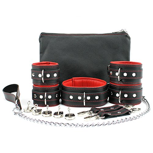 Madrid Set Lockable Full Grain Leather Collar Chain Leash Wrist Cuffs Ankle Cuffs (Red) by VP Leather