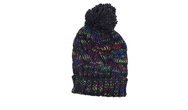 c9f44818424 Amazon.com  Lux Accessories Black Rainbow Confetti Winter Beanie Pom Pom Hat   Clothing