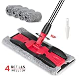MEXERRIS Microfiber Floor Mop For Hardwood Cleaning - 360 Rotating Dust Wet Mop With Aluminum Extended Handle 4 Reusable Washable Mop Pads Cloth And 1 Scraper