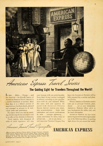 American Express China (1937 Ad American Express Travel Service Travelers China - Original Print Ad)