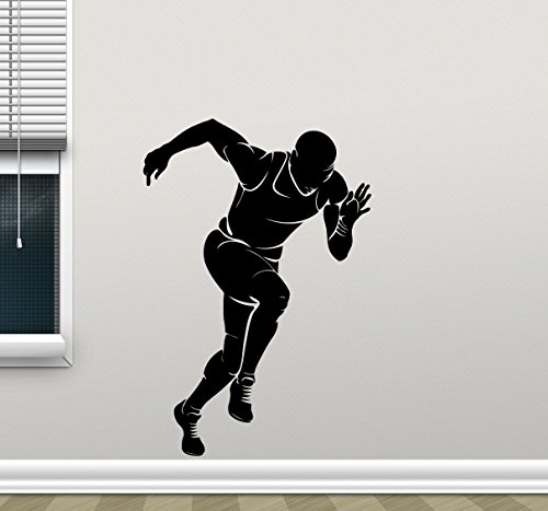 Runner Wall Decal Running Run Print Gym Fitness Workout Sport Poster Vinyl Sticker Kids Teen Boy Room Nursery Bedroom Wall Art Decor Mural 92nnn