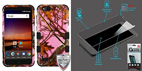 Collection Vantage (Combo pack Pink Oak-Hunting Camouflage Collection/Black TUFF Hybrid Phone Protector Cover [Military-Grade Certified](with Package) for ZTE N9137 (Tempo X) ZTE Z839 (Blade Vantage) ZTE Fanfare 3 And Te)