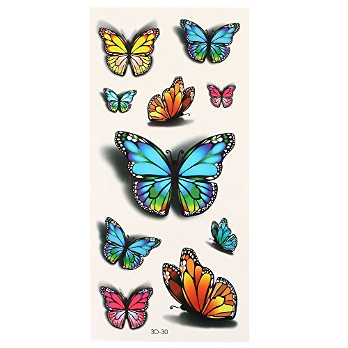 3D Color Butterfly Pattern Temporary Tattoos Stickers - 6
