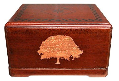 Urnporium Beloved Treasure Mahogany Wood Urn, Cherry Wood Tree Onlay