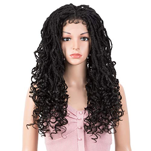 "Joedir 24"" Faux Locs Lace Frontal wig Crochet Braided 13X4 Free Parting Wigs with Baby Hair for Black Women Synthetic Hair Wigs(Black Color)"