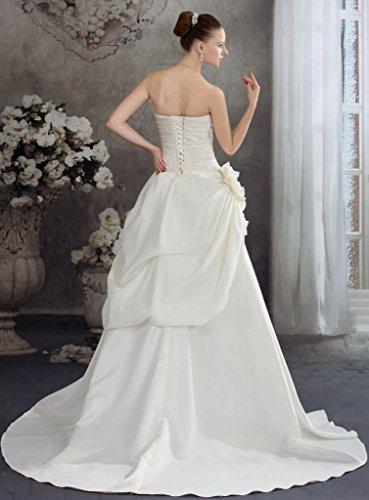 A Linie BRIDE Brautkleid Schleppe Satin GEORGE Traegerlos Elegant Elfenbein Kapelle xtnFw