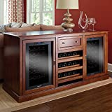 Siena Rich Brown Tulip and Walnut Wine Credenza, Italian Design Wine Storage