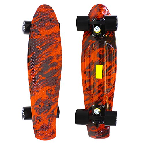 Scale Sports 22 Skateboard Complete Street Retro Cruiser Flame Print ()