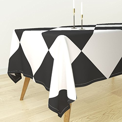 - Roostery Tablecloth - Black and White Checkerboard Wonderland Harlequin Diamond Check Square by Peacoquettedesigns - Cotton Sateen Tablecloth 70 x 108