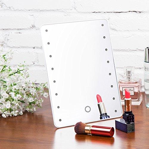Battery Operated Vanity Mirror Lights : Sumnacon LED Lighted Vanity Mirror Battery Operated Cordless Cosmetic Makeup Mirror / Table ...