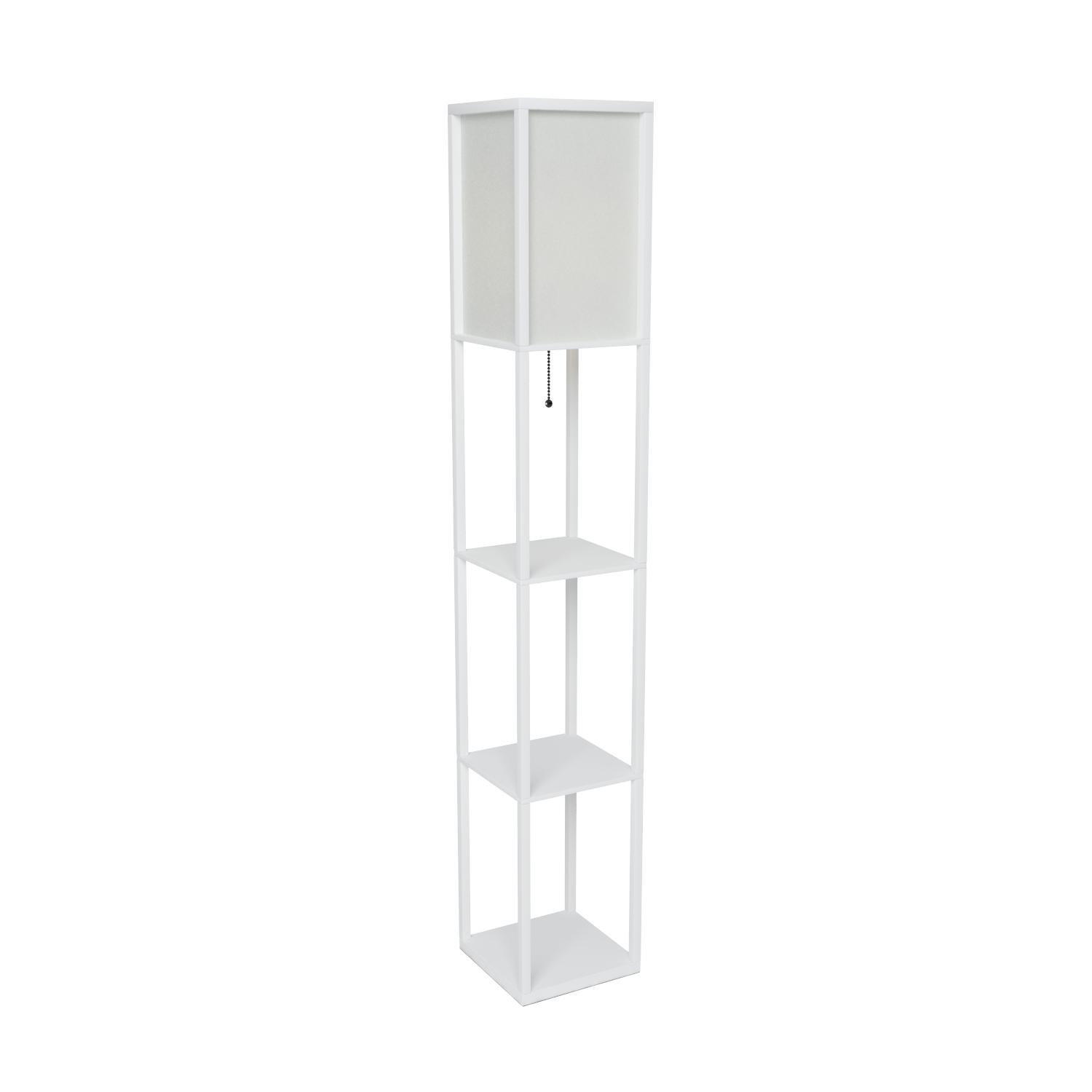 Simple Designs LF1014-WHT Floor Lamp Etagere Organizer Storage Shelf with Linen Shade, White by Simple Designs Home (Image #7)