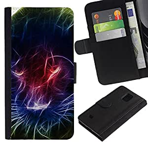 Samsung Galaxy S5 Mini / SM-G800 (Not For S5!!!) , la tarjeta de Crédito Slots PU Funda de cuero Monedero caso cubierta de piel ( Black Panther Light Painting Neon Colors)