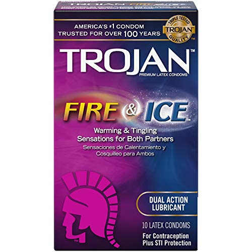 (Trojan Pleasures Fire and Ice Dual Action Lubricated Condoms, 10ct)
