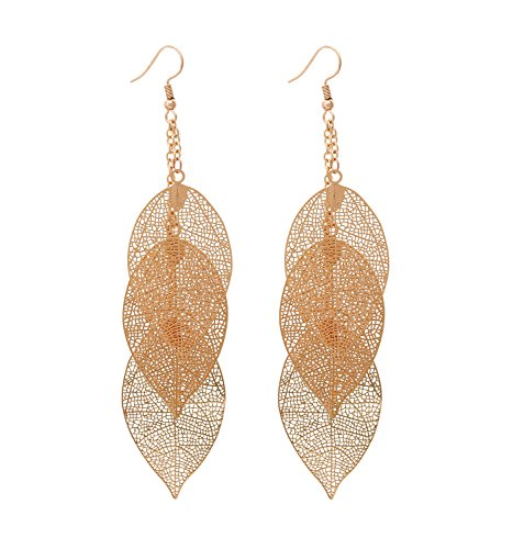 YAHPERN Filigree Copper Leaf Earrings Fashion Style Leaf Shape Dangle Earring Long Teardrop Dangle Drop Earrings for Women Girls (Gold Leaf)