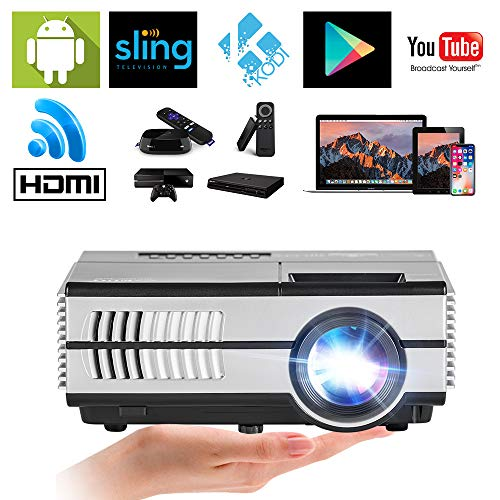 EUG Mini WiFi Video Projectors with HDMI-in USB VGA 3.5mm Aux Audio, Support HD 1080P 720P LCD LED Multimedia Android Wireless Home Cinema Projector (Chip Via Set Ram)