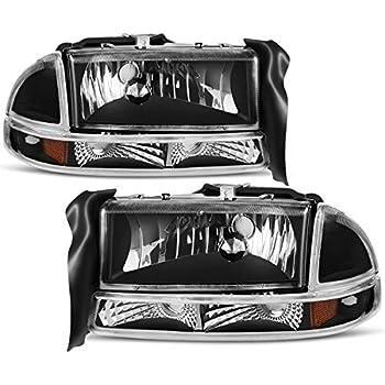 for 1997-2004 dodge dakota 1998-2003 dodge durango headlight assembly  headlamp replacement with park signal lamp black housing
