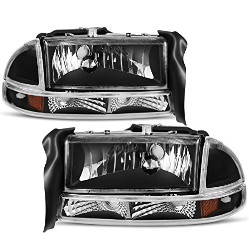 For 1997-2004 Dodge Dakota 1998-2003 Dodge Durango Headlight Assembly Headlamp Replacement with Park Signal Lamp Black Housing ()