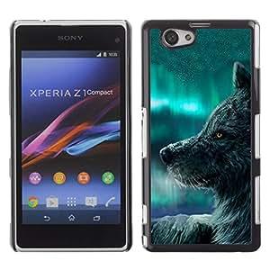 KOKO CASE / Sony Xperia Z1 Compact D5503 / lobo cielo azul perro salvaje animal bosque de cuento de hadas / Delgado Negro Plástico caso cubierta Shell Armor Funda Case Cover