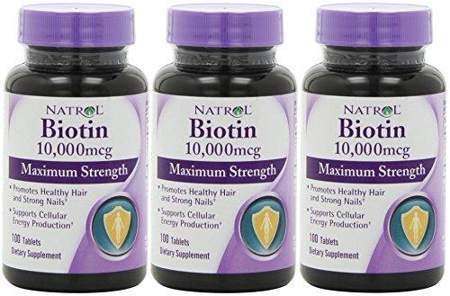 Биотин (10,000mcg) Максимальная сила 100 Таблетки (3 упаковки)