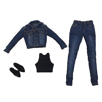 Amazon.es: Homyl Escala 1/6 Denim Chaqueta Jeans Chaleco ...