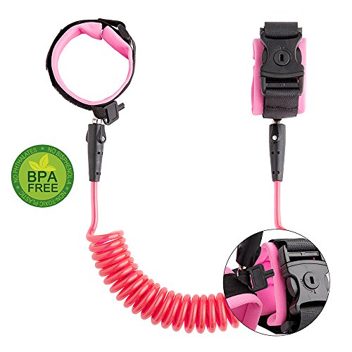 Anti Lost Wrist Link Kids Leash Child Safety Wristband Toddler Harness Leash with Lock (Pink)