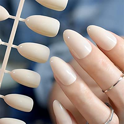 Medium Size Point Fake Nails Classical Light Nude STILETTO Plastic Ladies Artificial Nail Tips DIY Manicure Accessories Colors