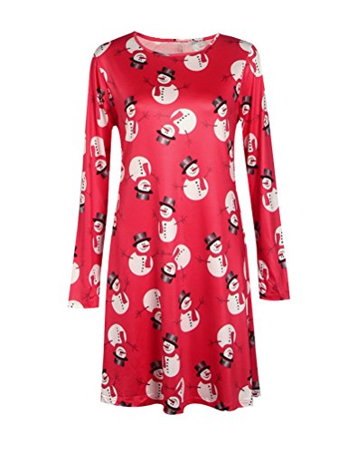 HowFitU Mother and Daughter Christmas Xmas Element Print Flared Swing Dress