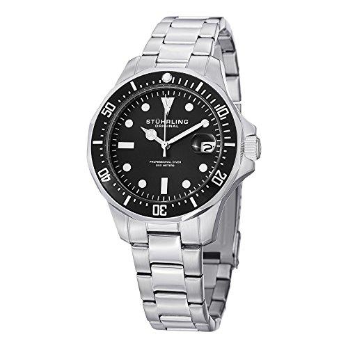 Stuhrling Original Men's 664.01 Aquadiver Quartz Date Stainless Steel Link Bracelet Diver Watch