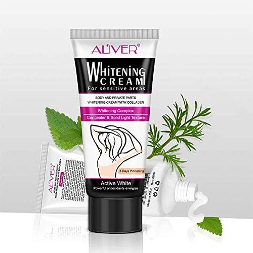 Skin Whitening Cream, Natural Underarm Whitening Cream, Effective Whitening & Brightening, Use for Face, Knees and Privacy Parties, Remove Dark Fast 60ML
