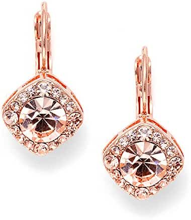 Mariell Tailored Solitaire Drop Earrings with Brilliant Round Crystals in Rose Gold Tone. Loved By All!