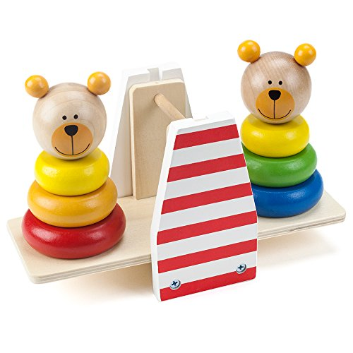 Wooden Wonders Balancing Bears Ring Stacker See-Saw by Imagination Generation Bears Seesaw