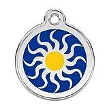 RedDingo enamel pet id tag, medium, ''Tribal Sun''
