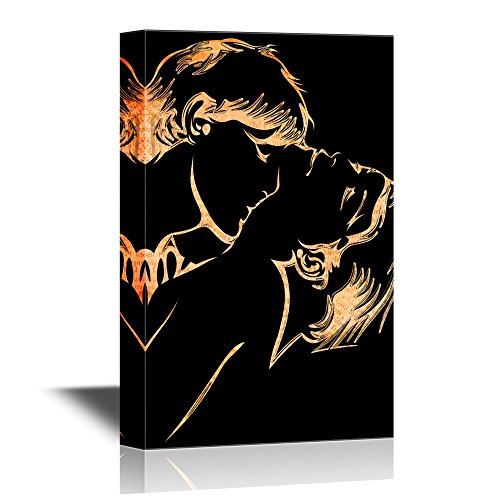 wall26 - Canvas Wall Art - Kissing Lovers - Gallery Wrap Modern Home Decor | Ready to Hang - 24x36 inches